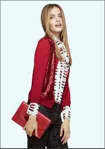 Banana Republic L'Wren Scott Saucy Red Sequin Cardigan Sweater XS ...