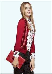 Banana Republic L'Wren Scott Saucy Red Sequin Cardigan Sweater XS ...