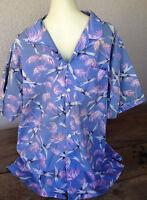 Kula Bay Honolulu Bamboo Mens Hawaiian Shirt Made n Hawaii 2XL XXL Blue Tan Navy