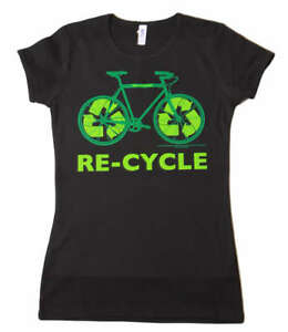 Women-039-s-Bicycle-Re-cycle-T-Shirt-Black