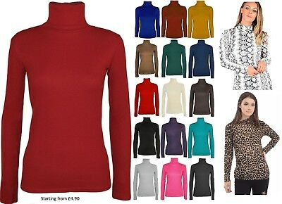 Ladies Womens Polo Neck Turtle Roll High Neck Jumper Party Tops Size 6-24 Bequemes GefüHl