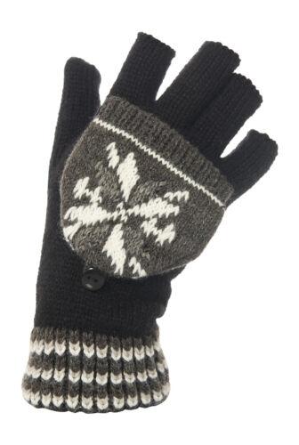 1 Paar Damen Thermo JA Fäustling Kappe Fingerlos Handschuhe B//W-Schneeflocke