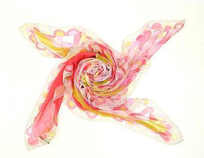 Emilio Pucci Pink & Yellow Silk Print Sheer Scarf NEW