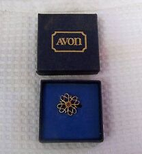 VINTAGE AVON 10K GOLD PLATE RUBY AWARD PIN ORIGINAL CARDBOARD BOX  EXCELLENT!!