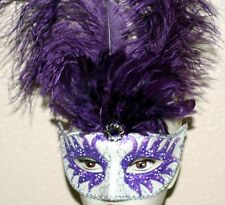 VENETIAN Mardi Gras Masquerade Ball SILVER PURPLE MASK w/ GLITTERS FEATHERS New