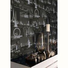 CITY BY NIGHT WALLPAPER BLACK (97670) HOLDEN DECOR NEW YORK LONDON ROOM FREE P+P