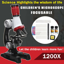 1004001200x Microscope Kit Lab Home School Science Educational Biological Toys
