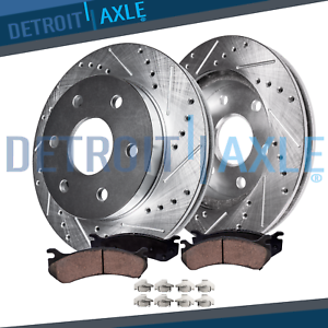 Front-Drilled-amp-Slotted-Brake-Rotors-w-Ceramic-Pads-2007-19-Chevy-Cadillac-GMC