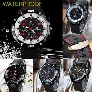100% Waterproof Men Black Stainless Steel Luxury Sport Analog Quartz Wrist Watch