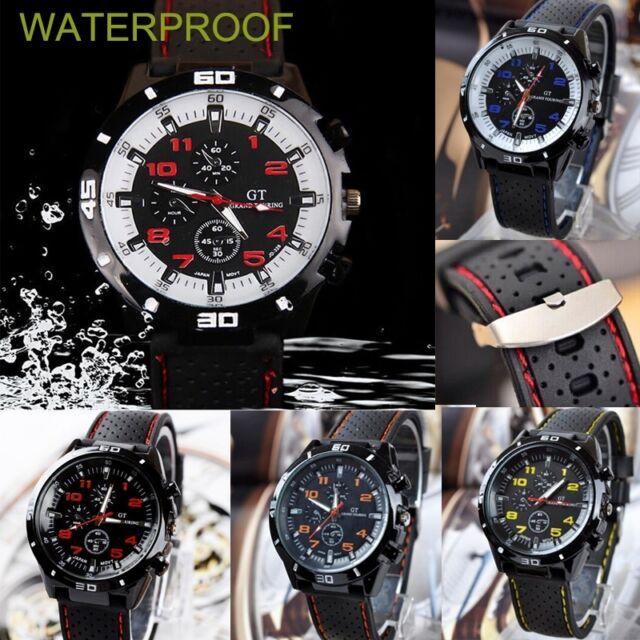 100% Waterproof Men Black Stainless Steel Luxury Sport Analog Quartz Wrist Watch