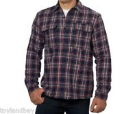 Boston Traders Men's Flannel Jacket Shirt Fleece Lining Navy Red Plaid Xl