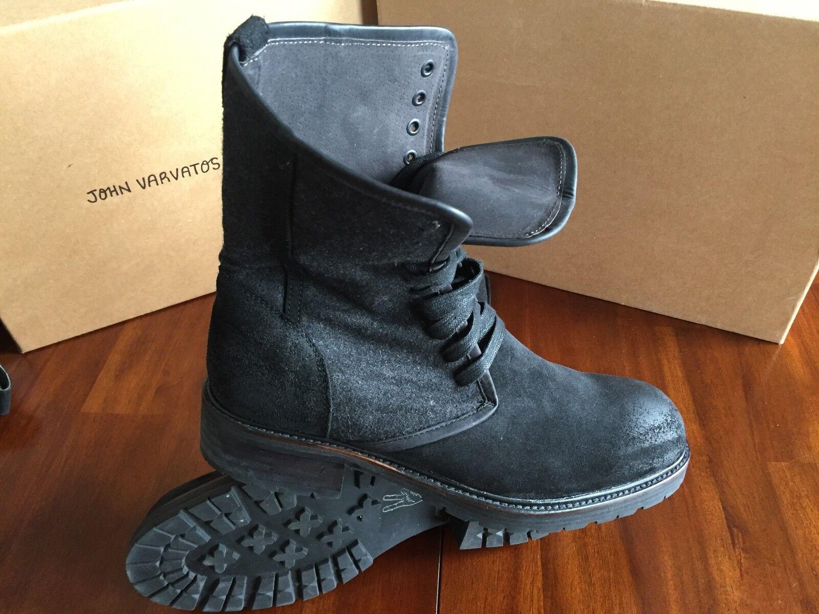 JOHN VARVATOS STATR USA BRIGHTON negro SUED botas (Talla 10M)   375