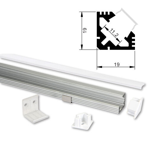 LED ALU Profil 1m 2m Aluprofil Aluminium Abdeckung für LED Streifen