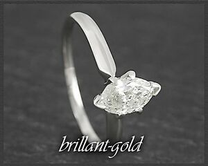 Diamant-Solitaer-Ring-585-Gold-0-62ct-Navette-Schliff-in-Wesselton-H-Weissgold