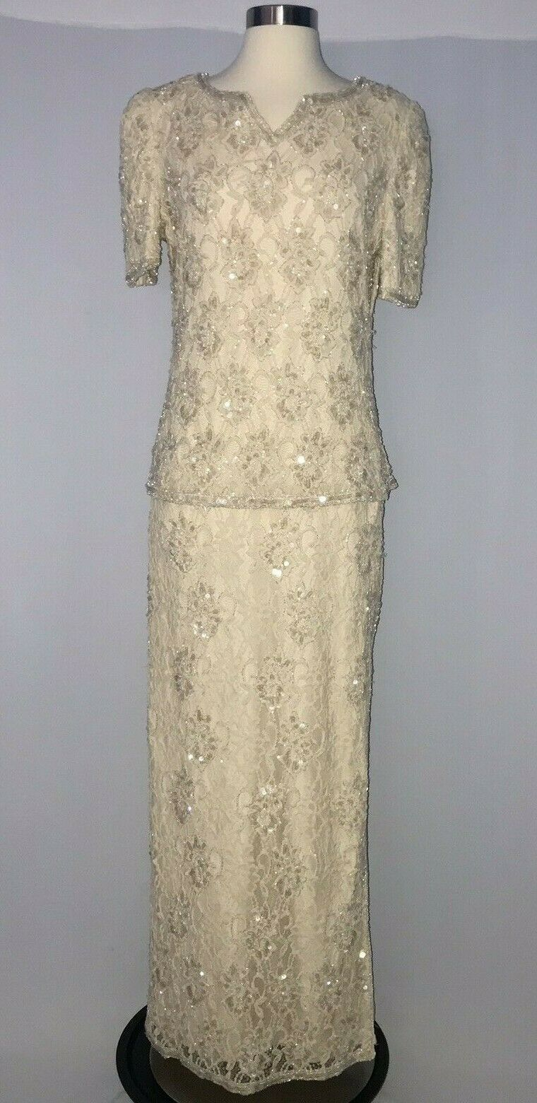 Vintage Scala Beaded Sequin Formal Dress Womens Size Large Beige Nude 1980's