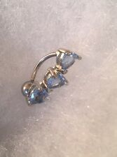 16g Reverse Dangle Heart Lt. Blue  Gem Navel Belly Ring Surgical Steel US Seller