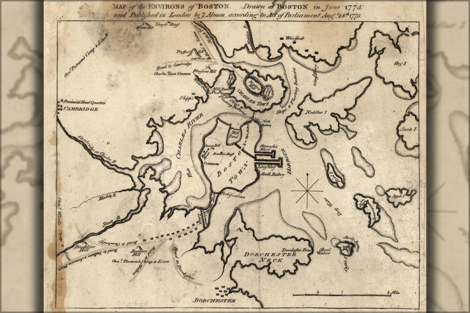 Plakat, Viele Größen; Landkarte der Environs Of Boston 1775