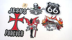 Route-Rt-66-Biker-Patches-Lot-5-As-Is-Skull-Rose-Jesus-Cross-Devil-Bikers-Riding