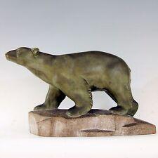 Georges Laurent (XXème) ◊ Ours polaire ◊ Terre cuite patine bronze