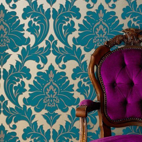 Tapete Petrol Silber vlies tapete barock muster ornament metallic effekt türkis petrol