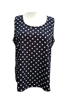 Plus-Size-Camisole-Top-Vest-Navy-amp-White-Spotted-Sizes-18-20-to-34-36