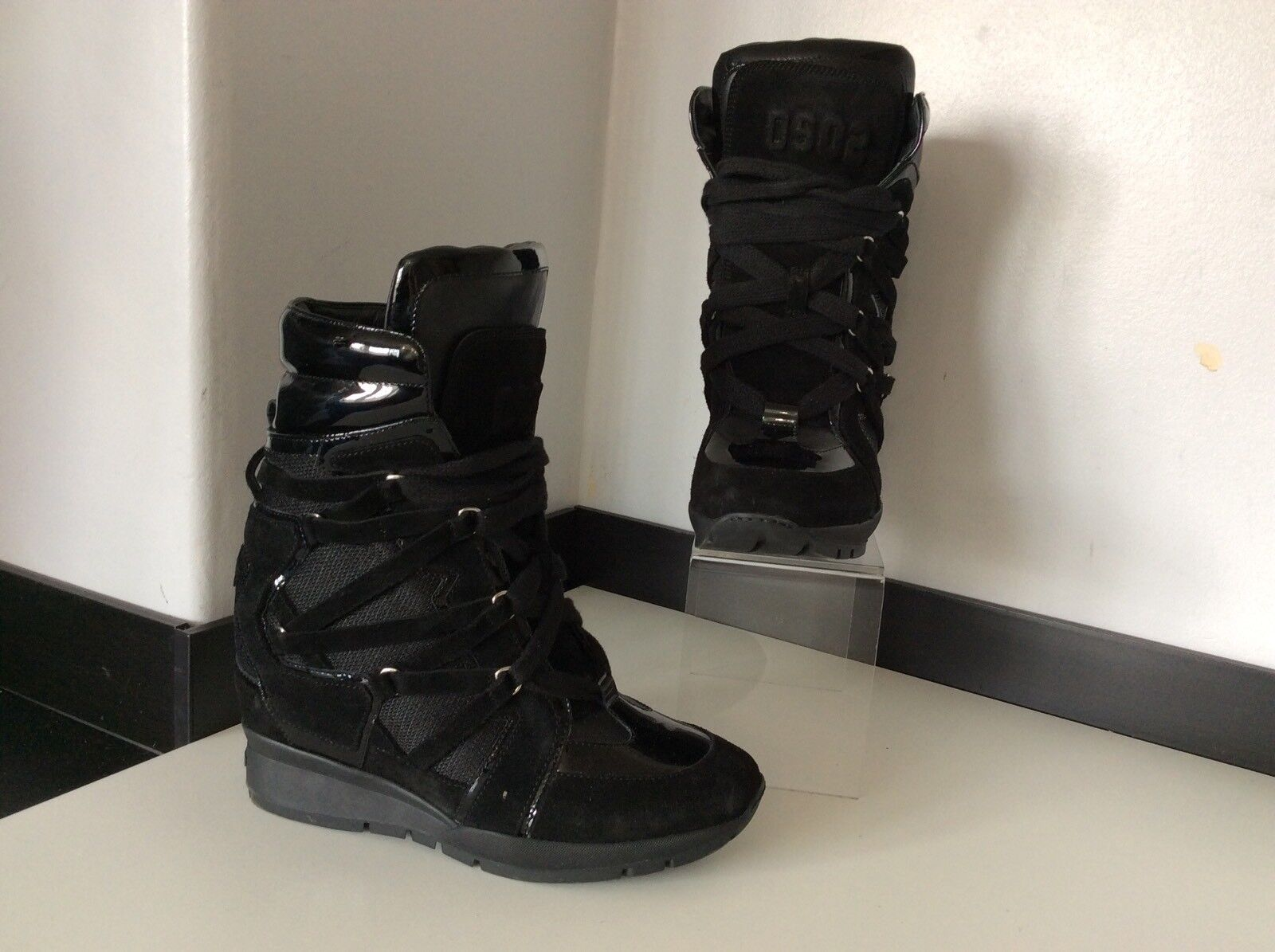 Dsquared2 Ds2 Lanseaza Wedge Sneakers, Uk 7 Eu40, Black, Boots, Immaculate