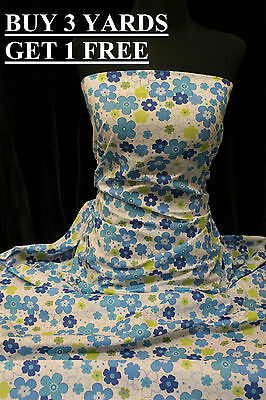 Flowers Lime Green Blue/Turqouise Cotton print fabric material dress crafts