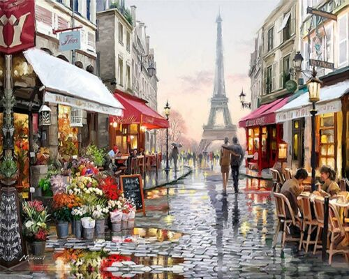 Paint By Numbers Adults Europe Paris Street Eiffel DIY Painting Kit 40x50CM