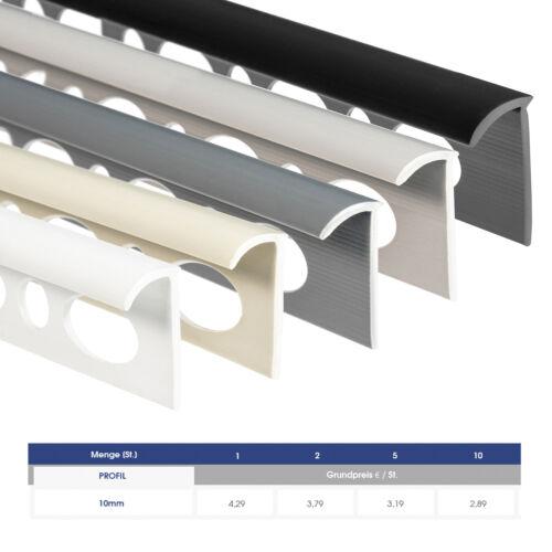 10 mm Fliesenschiene Rundprofil Viertelkreis Schiene PVC Übergang Abschluss