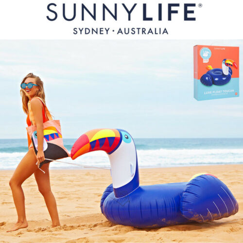 NEW SunnyLife Luxe Float Blue Toucan Inflatable Pool HUGE Extra Large Beach Toy