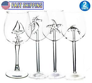 3d Wine Glass W 3d Animal Inside Glass Dolphin Sailboat Starfish Seahorse Ebay