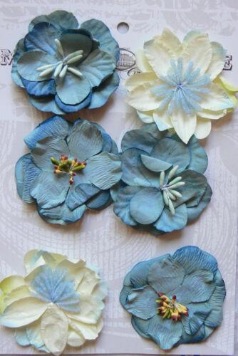 2 ea x 3 Flowers PAPER 50mm MH ConA Sea Blue-Grey /& Cream Mix SEASIDE