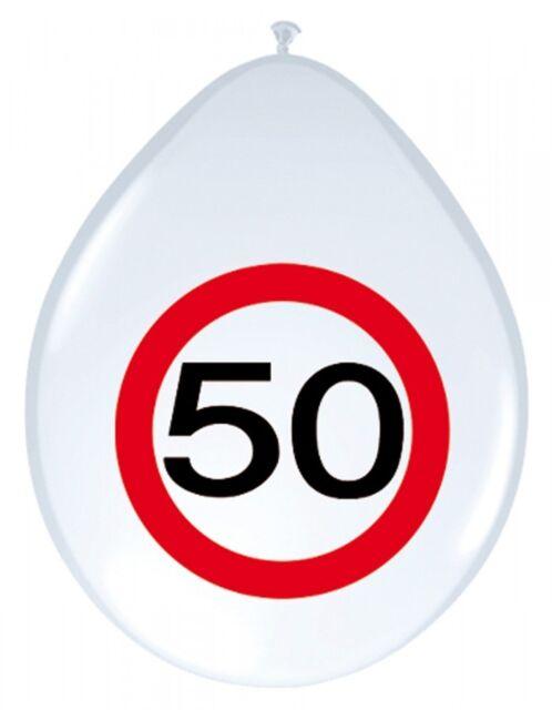 8 Luftballons Verkehrsschild 50 Geburtstag Deko Tischdeko Party Schild Jubiläum