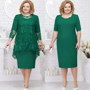 Details about Green Plus Size Mother Of The Bride Dress Suit With Lace  Jackets 2PCS Guest Gown