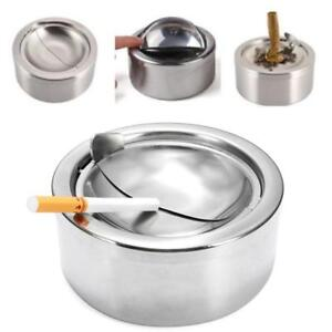New-Stainless-Steel-Cigarette-Lidded-Ashtray-Silver-Windproof-Ashtray-with-Lid