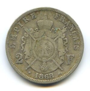 II Empire Napoleon III (1852-1870) 2 Francs Head Laurée 1868 BB Strasbourg