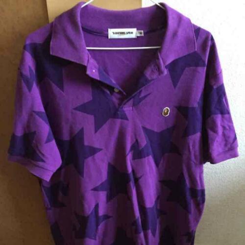 A BATHING APE BAPE Purple Star Polo shirt M a205