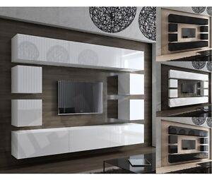 Details zu Wohnwand Schrankwand Concept 17 Design TV-Wand Hochglanz Modern  weiß schwarz
