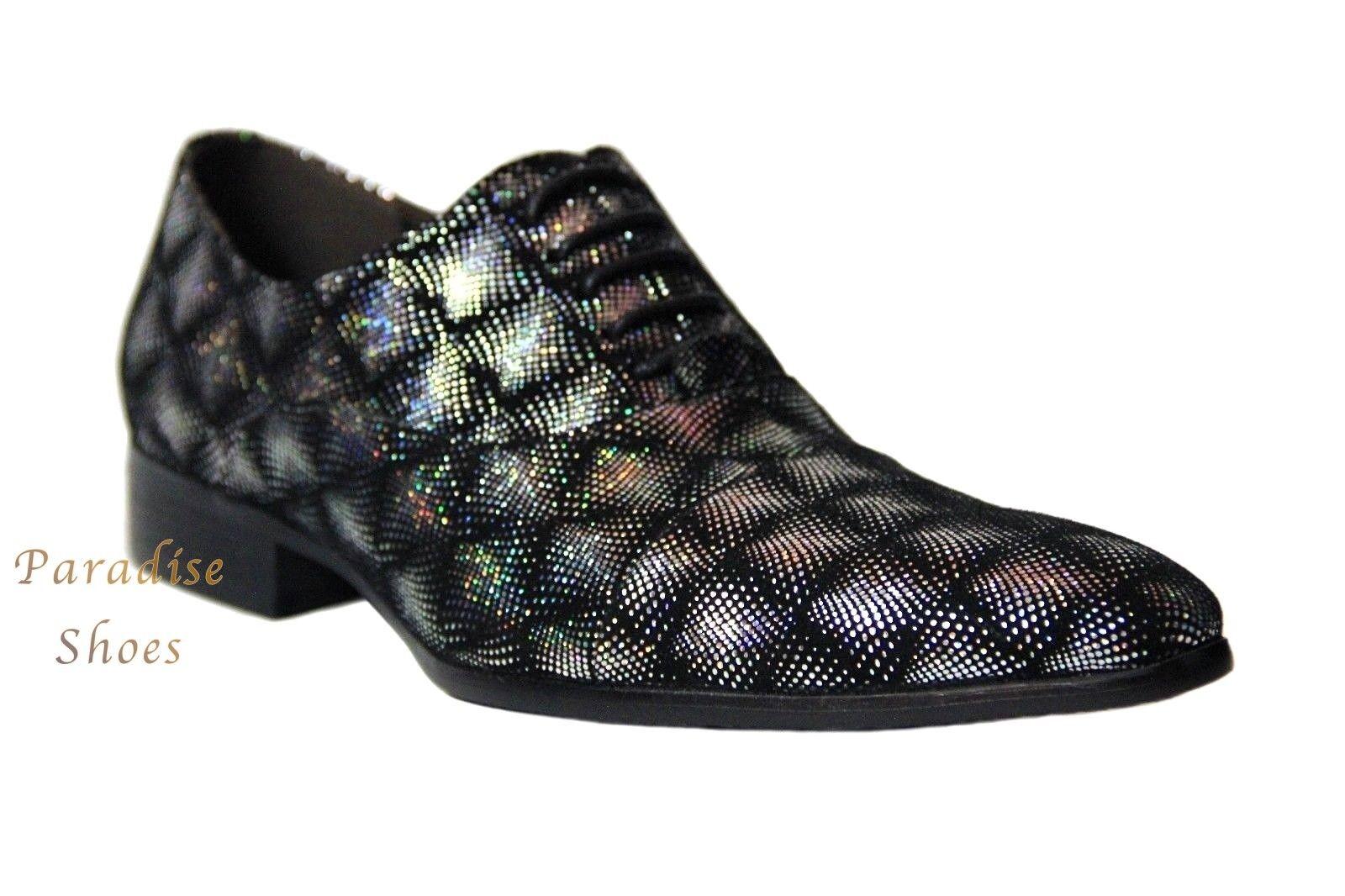 Zota Unique hommes 'formel et paillettes argent MultiCouleure Daim chaussures Oxford GF960-1A