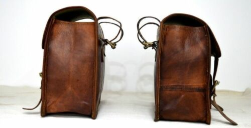 Motorcycle Side 2 Side Pouch Brown Leather Pouch Saddlebags Saddle Panniers Bag