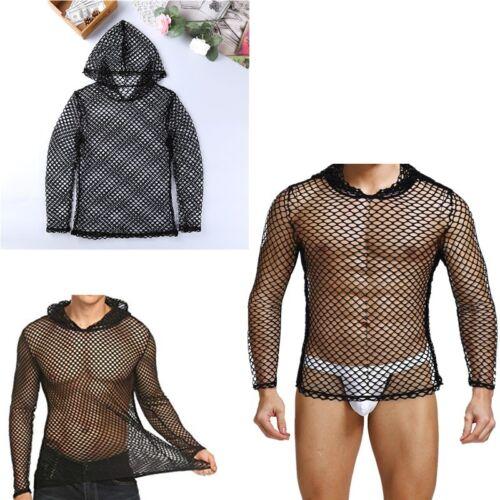 Mens Fishnet Sheer Mesh Hoodie Punk T-shirt Muscle Tee Shirt Party Club Tank Top