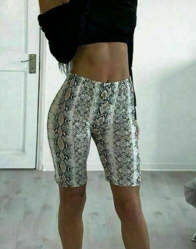 New Ladies Womens Snake Reptile Print Fitted Fashion Cycle Shorts Gym Yoga Dance