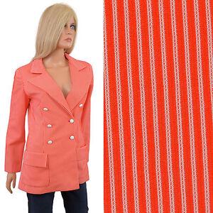 Vintage-70s-BLAZER-Red-White-Striped-Polyester-Womens-Jacket-M