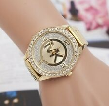 Montre MK Or Dorée Swarovski Luxe Strass Cristal Femme Gold Watch Lady Woman