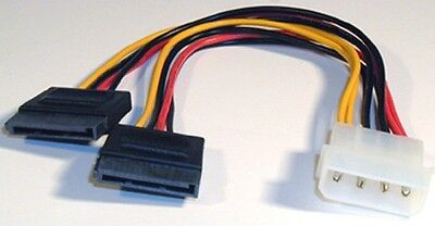 Molex to 2 SATA power adapter 4 pin male molex to 2X 15 pin female SATA power
