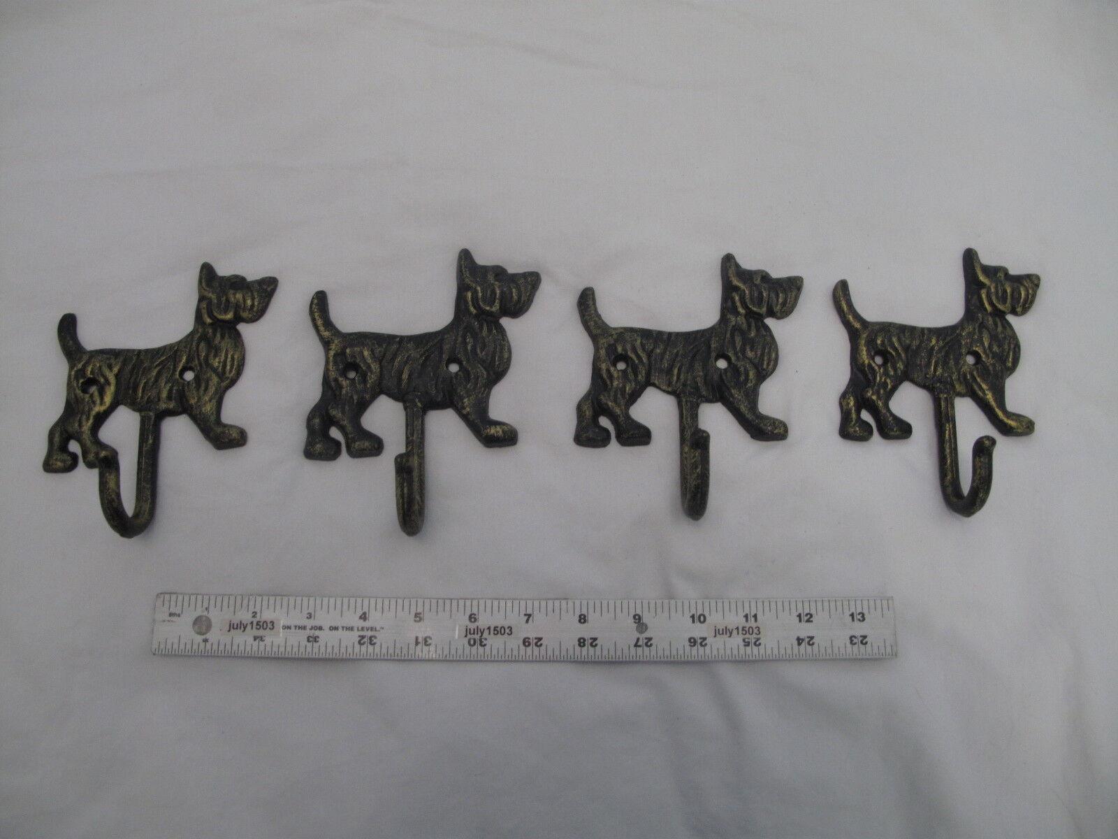 (4) NEW Dog Coat Hook Cast Iron Antique Pewter Finish 6  x 5  Terrier