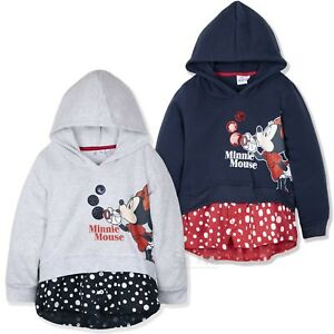 e2fbe3f49 Disney Minnie Mouse Girls Hoodie Warm Hooded Fleece Jumper Dots ...