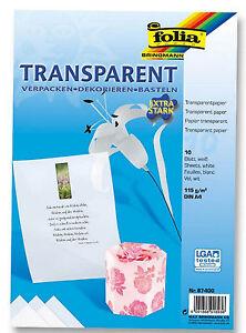 Folia weiss Transparent Papier extra stark DIN A4 - 115g/m² Basteln Dekorieren #