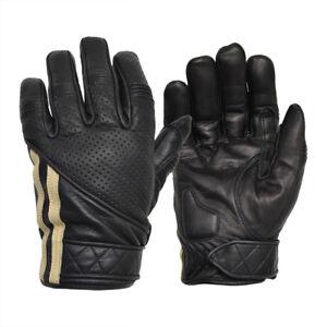 Goldtop Fleece Lined Black Leather Short Cafe Racer Classic Motorcycle Gloves Ebay