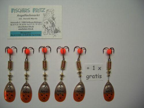 Original Mepps Spinner Aglia Brite Gr.3 silber//orange 5+1gratis 6 Stück